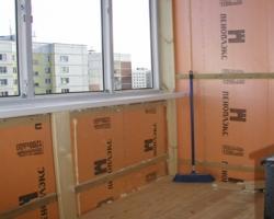 Утепление потолка и стен балкона