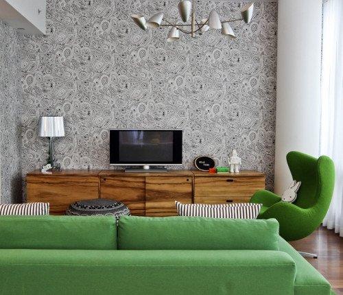 Зеленые интерьеры гостиной: идеи