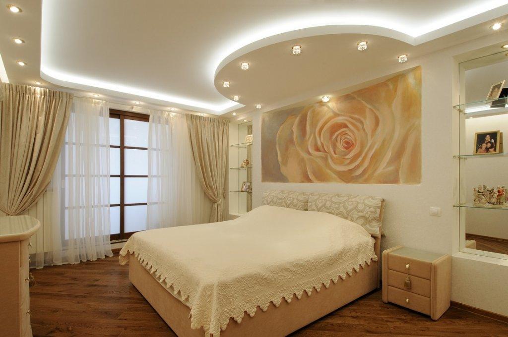 Освещение натяжных потолков в спальне